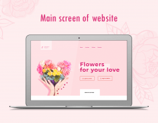 Main screen of website for Flowers delivery
