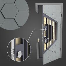 3D sectional model of a door.