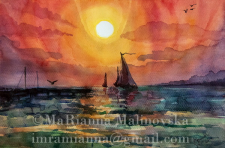 2014 sunset and sailboats . city Nikolaev Ukraine.