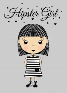 Иллюстрация девочка-хипстер