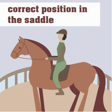 correct position in the saddle
