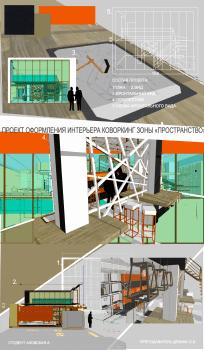 Проект интерьера  для коворкинг зоны