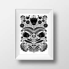 Line drawing. Flowers. Black and white graphic.
