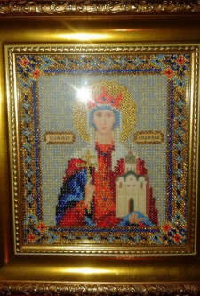 Вышитая бисером икона Святой мученицы Людмилы