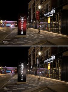Обработка фотографий фасада кинотеатра
