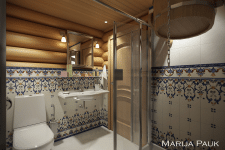 Interior of a bathroom in a log cabin