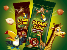 Серия упаковок для больших  вафельных конфет.