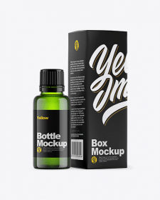 Green Glass Bottle w/ Box Mockup