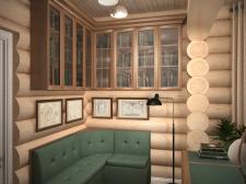 кабинет. бревенчатый дом.