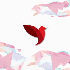 Птица в минималистично-геометричном стиле.