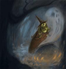 Ведьма. Сказочная иллюстрация