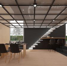 Проект гостиной с мансардным этажом