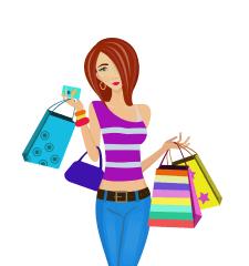 Векторная иллюстрация девушка, шопинг