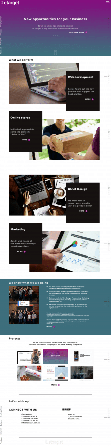 Дизайн лендинг пейдж сайта