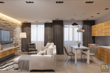 Дизайн интерьера гостиной и кухни в стиле минимал