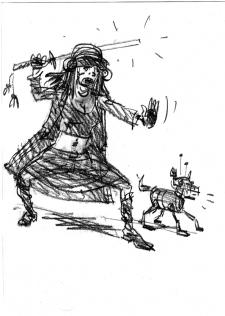 Скетч персонажа в стиле киберпанк