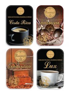 """Этикетки для кофе, фирма """"Элькаф"""""""