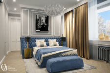 Спальня в серо-голубых тонах