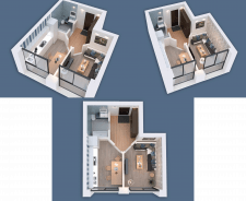 3D visualization of a one-room apartment NEW-1