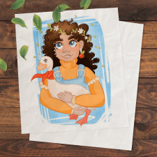 Illustration Girl with goose