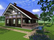 Ескізний проект  житлового будинку з мансардою