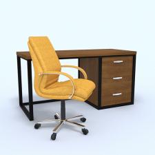 """3D модель """"Желтый офисный стул и стол"""""""