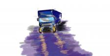 фура на мокрой дороге