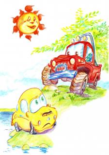 Пригоди маленької жовтої машинки Піпі иллюстрация