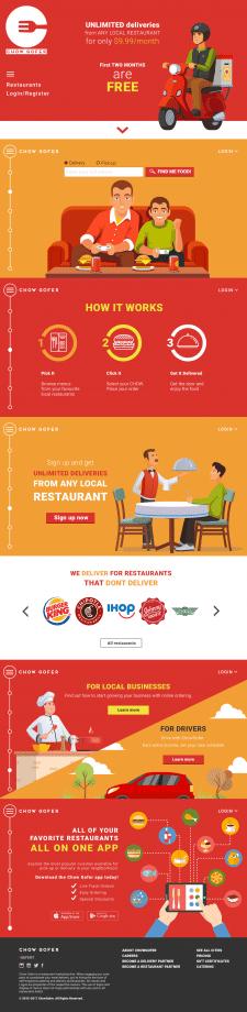 Лендинг компании по доставке еды