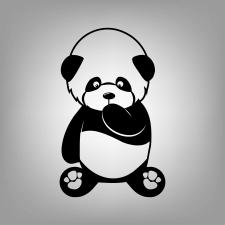 Панда - чорна ізольована прозора векторна графіка