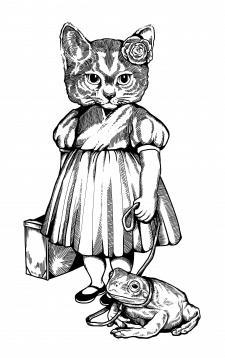Дизайн эскиза татуировки ( Кошечка с Лягушкой)