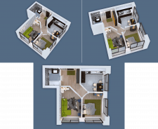 3D visualization of a two-room apartment NEW-4