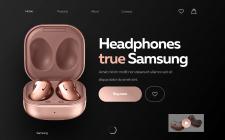 Дизайн первого экрана сайта по продаже наушников