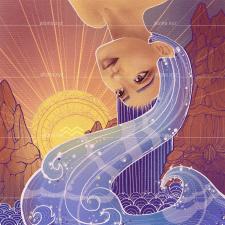 Digital illustration of zodiac Aquarius
