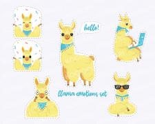 Llama emotions set