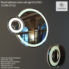 Round bathroom mirror with light ECLIPSE