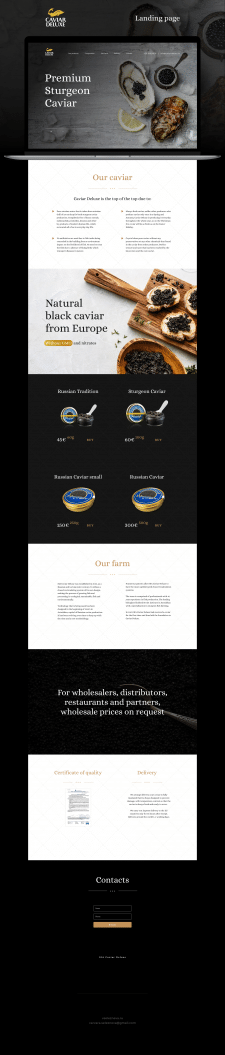Landing page для Caviar Deluxe