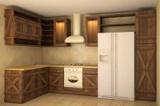 проект кухни из дерева в деревенском стиле