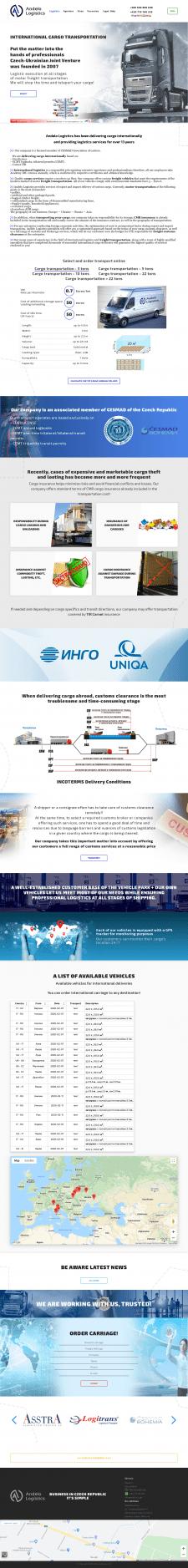 Andelo Logistics Website UKR-ENG