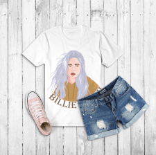 Portrait Billie Eilish on T-shirt