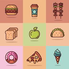 Иконки еды - цветные