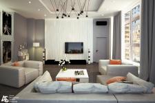 Визуализация гостиной в стиле Лофт