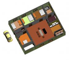 3d модель частного дома (вид 1) в Ревит 2014