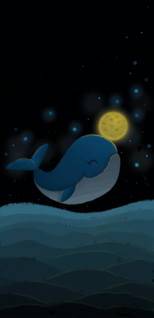 illustration of blue whale on the background of th