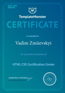 Сертификат Templatemonster [HTML/CSS]