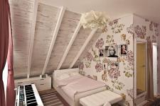 проект спальни на мансарде