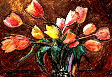 Tulips. drawing on paper