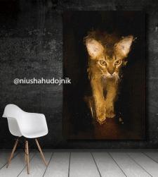 цифровая живопись, картина, портрет кошки