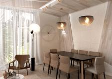 Современная кухня с камином