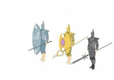 стражник (солдат) серебро, золото, пепел
